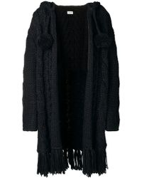 Saint Laurent - Fringed Cable Knit Cardigan - Lyst