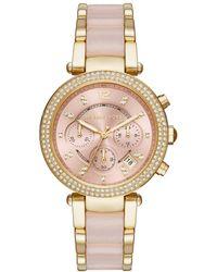 39e91a521193 Michael Kors - Parker Pavé Gold-tone Rose Acetate Watch - Lyst