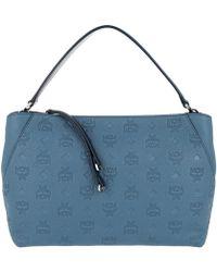 MCM - Klara Monogrammed Leather Shoulder Medium Luft Blue - Lyst