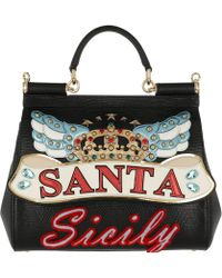 ec4639be064d Dolce   Gabbana - St. Iguana Patch Handbag Leather Black - Lyst