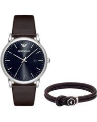 Emporio Armani - Luigi Mens Gift Set Watch + Bracelet Dark Brown/ Black - Lyst