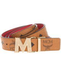 MCM - Colour Visetos Reversible Belt Cognac - Lyst