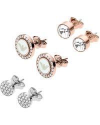 Emporio Armani - Ladies Signature Earrings Set Silver/copper - Lyst