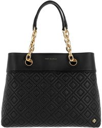 Tory Burch - Fleming Small Tote Black - Lyst