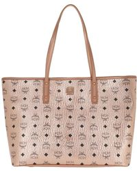 MCM - Anya Top Zip Shopper Medium Champagne Gold - Lyst