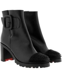84de81bf88b8 Christian Louboutin Telezip 85 Ankle Boots Leather Black red in ...