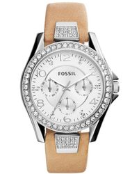 Fossil - Riley Leather Silver-colored - Lyst