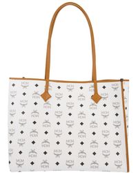 MCM - Kira Visetos Ew Shopper Medium White - Lyst