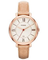 Fossil - Jacqueline Watch Leather Rose Sand - Lyst