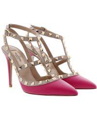 Valentino - Rockstud Chanel Pumps Disco Pink/poudre - Lyst