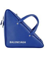 Balenciaga - Triangle Shoulder Bag Leather Blue - Lyst