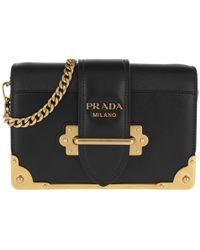 a29d746dee8bec Prada Micro Cahier Bag Metal Hardware Leather Black/gold in Black - Lyst