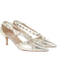 9ce61105d7c Valentino - Metallic Free Rockstud 55 Court Shoes Leather Silver - Lyst