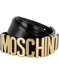 a6092153cf9 Moschino Textured Leather Belt in Green for Men - Lyst