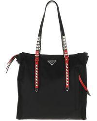 40263cf4aacb Prada - Studded Tote Bag Nylon Nero/fuoco - Lyst