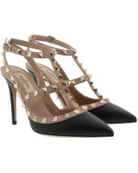 Valentino - Rockstud Ankle Strap Nero/poudre - Lyst