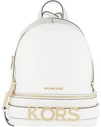 aee3012043666 Michael Kors Rhea Zip Xs Leather Messenger Backpack Optic White in ...