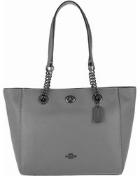 COACH - Polished Pebbled Leather Turnlock Chain Tote 27 Heather Grey - Lyst