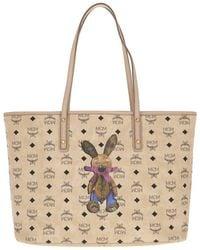 MCM - Rabbit Top Zip Shopper Medium Beige - Lyst