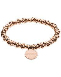 Emporio Armani - Ladies Bracelet Logo Rosegold - Lyst