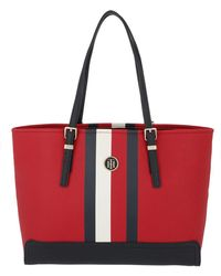 Tommy Hilfiger - Honey Medium Tote Print Tommy Red/corp Stripe - Lyst