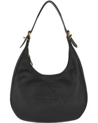 Lauren by Ralph Lauren - Soft Leather Hobo Bag Medium Black - Lyst