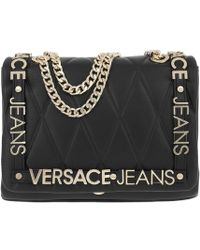 Versace Jeans - Quilted Logo Chain Handle Cross Body Bag - Lyst