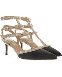 Valentino - Rockstud Decollete Pump Ankle Strap Nero/poudre - Lyst
