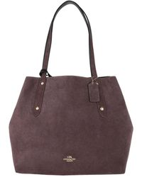 Tote - Reversible Suede LG Market Tote Heather Grey/Oxblood - grey - Tote for ladies Coach Z0eaUxlqz