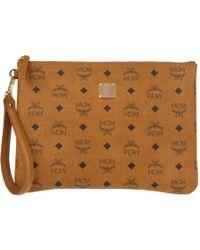 MCM - Stark Top Zip Medium Pouch Ipad Bag Cognac - Lyst