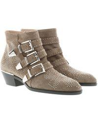 Chloé - Susanna Boots Suede Foggy Khaki - Lyst
