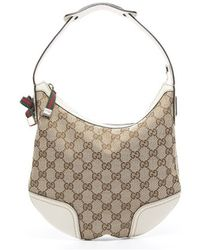 Gucci Preowned Beige Monogram Canvas Small Princy Hobo Bag - Lyst