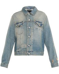 McQ by Alexander McQueen Distressed Patchwork Denim Jacket - Lyst