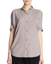 Zero + Maria Cornejo Ymi Silk Blouse gray - Lyst