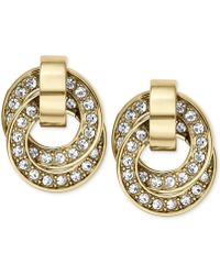 Michael Kors Goldtone Crystal Pavè Interlocked Ring Drop Earrings - Lyst