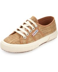 Superga Low-Top Raffia Sneakers - Lyst