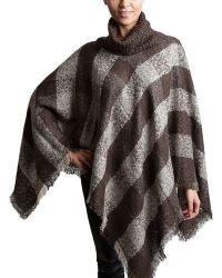 Bungalow 20 | Plaid Turtleneck Poncho In Mushroom And Gray | Lyst