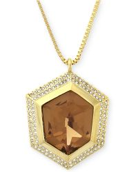 Vince Camuto - Gold-plated Champagne Crystal Pendant Necklace - Lyst