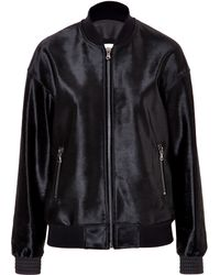 Balmain Black Leather Bomber - Lyst