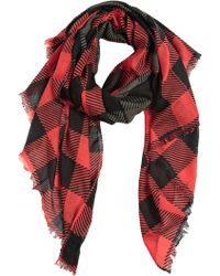 Rag & Bone Red Checkered Scarf - Lyst