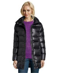 Diane von Furstenberg | Black Quilted Faux Fur Trim Hooded Down Coat | Lyst