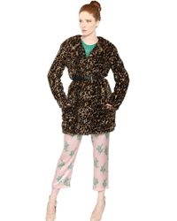 Nina Ricci Faux Fur Leopard Coat - Lyst