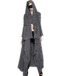 Gareth Pugh Draped Printed Stretch Georgette Coat black - Lyst