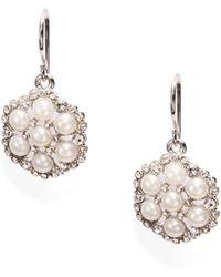 Lauren by Ralph Lauren - White Faux Pearl Cluster Drop Earrings - Lyst