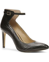 Ann Taylor Hazel Exotic Embossed Leather Ankle Strap Heels - Lyst