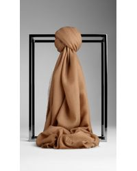Burberry Embroidered Lightweight Cashmere Scarf - Lyst