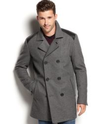 Guess Double-breasted Wool Peacoat - Lyst