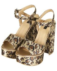 Topshop Lilith Leopard Chunky Platform Sandals - Lyst