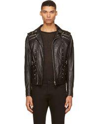 Diesel Black Leather Studded Emblem L_gordias Jacket - Lyst