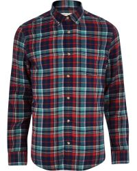 River Island Blue Check Long Sleeve Shirt - Lyst